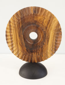 Standing disc - turned, textured and carved and pyrographed