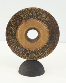 Standind disc - turned, textured and carved and dyed