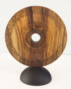 Standind disc - turned, textured, carved and pyrographed