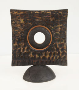 Standind disc - turned, textured scorched and carved and dyed